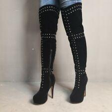 Women Platform High Heels Rivet Over Knee High Boots Stiletto Clubs Shoes Big Sz