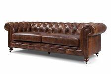 Chestefield Sofa Couch Leder Designer Textil Sitz Polster Garnitur Design 201805