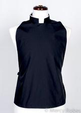 Men's Black Clergy Rabat Shirt Front, Collar Included, Pastor, Minister