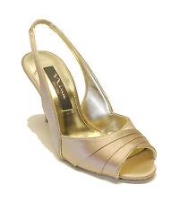 Nina $90 Latte Satin Slingback Sandal Heels FINN Women's Shoes 5