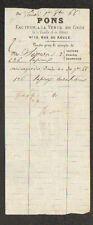 """PARIS (I°) VENTE TRANSPORT de VOLAILLE & GIBIER """"PONS Facteur"""" en 1866"""