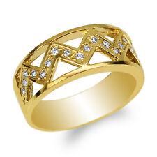 JamesJenny 10K Yellow Gold Round CZ Embedded Pattern Band Ring Size 5-10