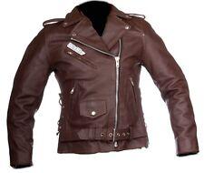 moto chaqueta motorista de moto en cuero para custom mujer con protecciones