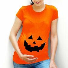 Funny Pumpkin Face Maternity T-Shirt Top Costume Idea Womens Halloween L100