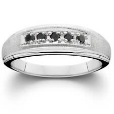 Mens Black Diamond Wedding Anniversary Brushed Ring 14K White Gold
