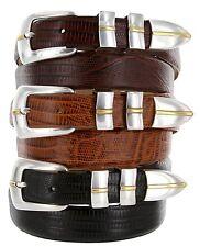 "Marin Gold - Genuine Leather Italian Calfskin Designer Dress Belt, 1-1/8"" Wide"