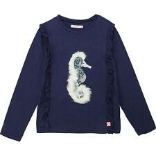 Billieblush Longsleeve blau Rüschen Seepferdchen Pailletten Webpelz Gr. 104-140