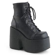 CAMEL-203 Demonia High-Heels Schnürstiefeletten schwarz Lederlook Reißverschluss
