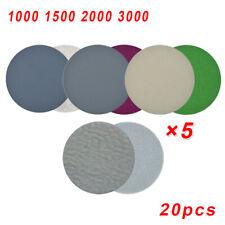"""5Pcs 5/"""" Disque abrasif boucle et crochet 1000Grain Papier verre flocon orbitale"""