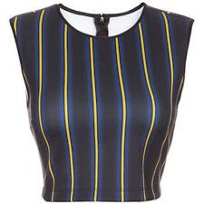 Clover Canyon George Bernard Shaw Blue Stripe Crop Top Sleeveless XS S M L NWT