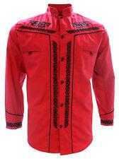 Men's Charro Shirt Camisa Charra El General Western Wear Red Long Sleeve