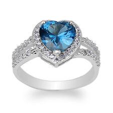 JamesJenny White Gold Plated 1.8ct Heart Blue Topaz CZ Halo Beautiful Ring 4-10