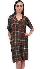 Bimba Olive Green Check Print Short Sleeve Women Shirt Night Dress With Pocket