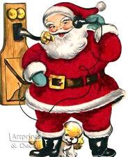Santa on the Telephone  (: Art Print of Vintage Art :)