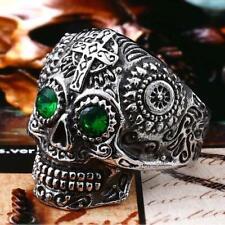 Golden Mens Kapala Sugar Skull Stainless Steel Ring