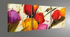 FLOWERS QUADRI MODERNI FIORI ARREDO STAMPA SU TELA CM 150X50 VERNICE PENNELL0