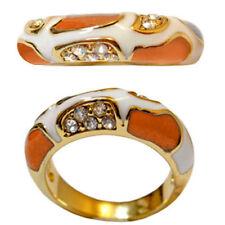 bague plaqué or jaune émail orange et blanc cristal Swarovski style moderne