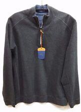 NEW TOMMY BAHAMA Flip side Twill Reversible Half Zip Pullover T211442 DARK GREY