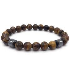 Men 8mm Matte Agate Tiger Eye Beads Hematite Yoga Energy Reiki Bracelets Gift