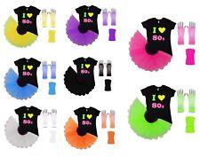 I Love 80s Neon Tutu Skirt 80's Fancy Dress Fluorescent Hen Party Beads UV