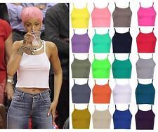 Womens Bralet Cami Bra Spaghetti Strap Vest Sleeveless 90s High Neck Crop Top