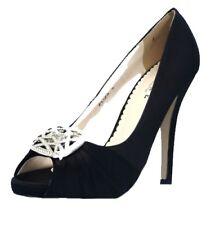 Mujer Nuevo Dama De Novia La Boda Plata Blanco Marfil Raso Negro zapatos UK 3-7