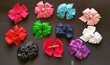 "Grosgrain Ribbon Bows 4.5"" Hair Clip Pin Boutique Style girls/ladies UK SELLER"