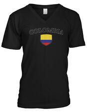 Colombia Flag Crest National Orgullo Soccer Football Pride Mens V-neck T-shirt