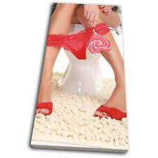 Lollypop Girl Red Erotic SINGLE DOEK WALL ART foto afdrukken