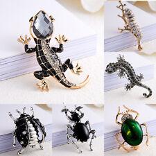 Vintage Women Men Lizard Beetle Rhinestone Crystal Brooch Pin Jewelry Gifts Hot