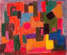 ALBERT HENNIG, Bauhaus Dessau, farbenfrohes PASTELL 94, sign. und datiert, TOP!