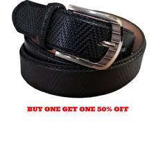 Men's Genuine Leather Casual Dress Black Belt Silver Buckle New
