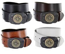 Sailor Compass Buckle Mens Jean One Piece Cowhide Leather Belt