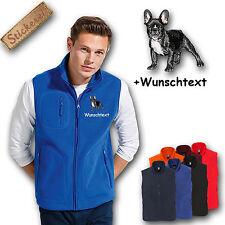 Fleece Weste Fleeceweste bestickt Stickerei Französische Bulldogge Schwarz +Name