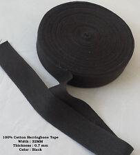 32 mm nero cotone Herringbone Tappezzeria BIAS Grembiule bordatura cucito Bunting NASTRO