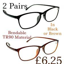 2 Pairs Super-Lite Bendable TR90 Material Fashion Unisex Reading Glasses TN31