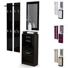 Garderobe Meubles d'entrée Loret V2 Mini en Noir - Façades en coloris divers