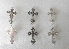 Pack of 2 Big Rhinestone Cross Connector Links Charm Pendant Jewellery Making