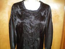 NEW NWT womens black satin dressy blouse shirt size S M