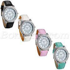 Womens Ladies 12/24h Arabic Numberals Rhinestone Dial Leather Quartz Wrist Watch