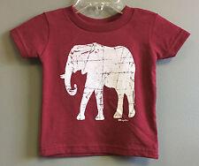 Crimson Short Sleeve Infant Tee with White Distressed Elephant