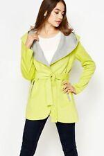 Women SALE Fleece Jacket Neon Green Grey Hood Belt Pocket Trench Mac Coat 8 - 14