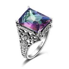 European  Classic Elegance Mystic Rainbow Topaz Crystal 925 Sterling Silver Ring