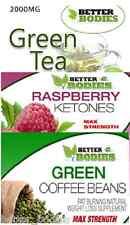 Cetona de frambuesa 600 mg Green Coffee Bean 6000 mg Té Verde 2000 mg Dieta Fuerte