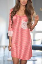 Crochet Lace Applique Striped Coral Mini Dress
