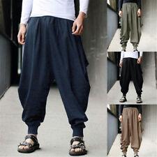 Men Retro Cotton Linen Casual Harem Japanese Pants Trousers Hakama Drop Crotch