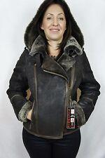 Brown 100% Shearling Leather Sheepskin Pilot Bomber Aviator Jacket Coat XS - 6XL