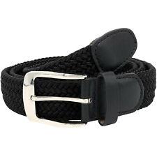 Duke D555 Mens Simon Braided Casual Stretch Patterned Adjustable Belt - Black