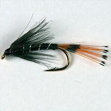 6 Noir /& Paon Wet Trout Fly Fishing Flies Taille Options par Libellules