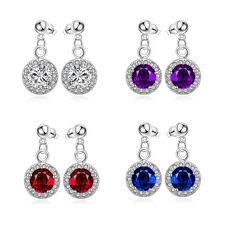 """Sterling Silver Plated Blue Earrings Drop Dangle AAA Zirconia Push Back .4"""" L352"""